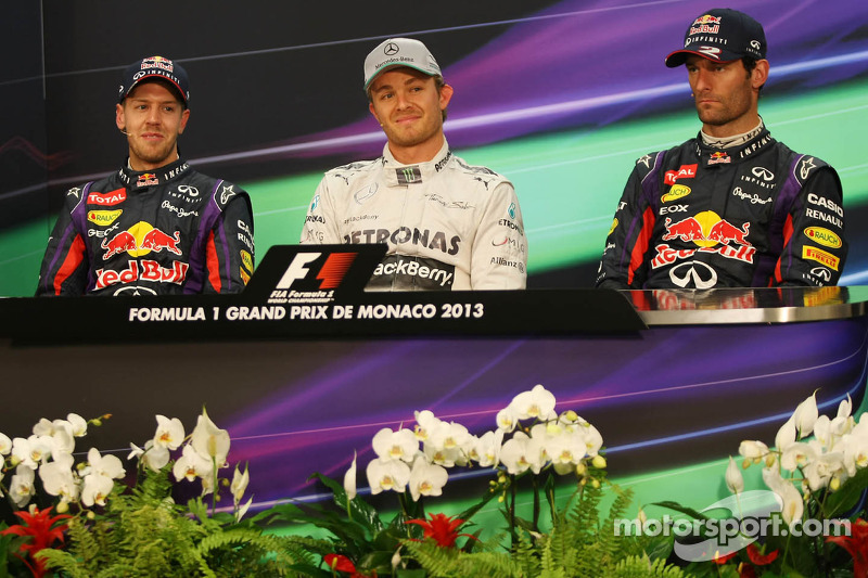 The FIA Press Conference, Sebastian Vettel, Red Bull Racing, second; Nico Rosberg, Mercedes AMG F1,