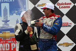 Race winner Mike Conway, Dale Coyne Racing Honda, third place Justin Wilson, Dale Coyne Racing Honda