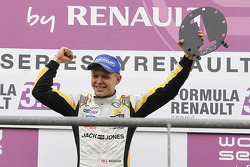 Race winner Kevin Magnussen celebrates