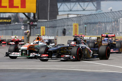 Adrian Sutil, Sahara Force India F1 Team  en Nico Hulkenberg, Sauber F1 Team Formula One team