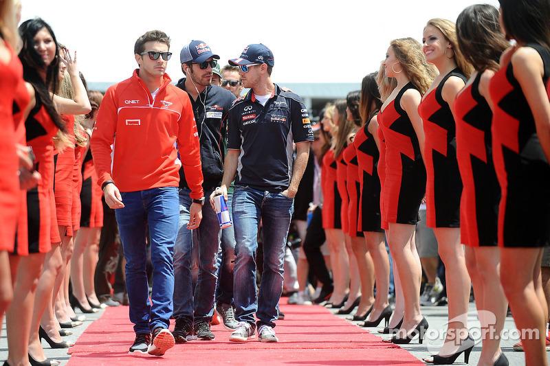 Jules Bianchi, Marussia F1 Team, Jean-Eric Vergne, Scuderia Toro Rosso and Sebastian Vettel, Red Bul