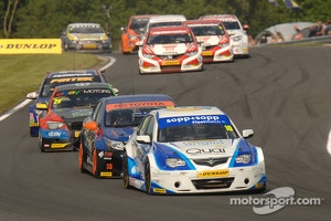 BTCC cars in action