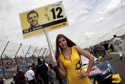 Grid girl of Jamie Green, Audi Sport Team Abt Sportsline Audi RS 5 DTM