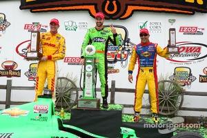 Race winner James Hinchcliffe, second place Ryan Hunter-Reay, third place Tony Kanaan