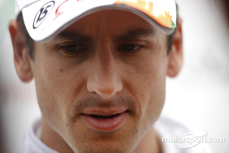 Adrian Sutil, Sahara Force India with the media.