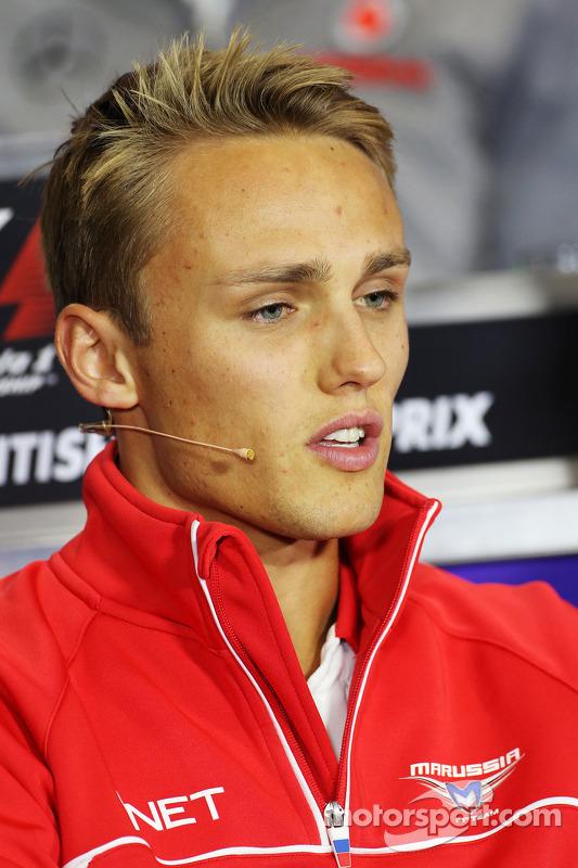 Max Chilton, Marussia F1 Team na coletiva da FIA.
