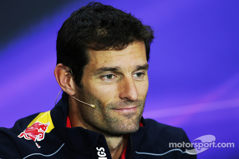 Mark Webber, Red Bull Racing in the FIA Press Conference.
