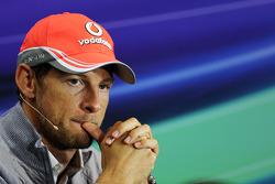 Jenson Button, McLaren in the FIA Press Conference.