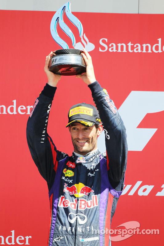 Mark Webber Red Bull Racing comemora sua segunda posição no pódio