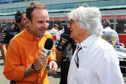 Rubens Barrichello with Bernie Ecclestone CEO Formula One Group on the grid