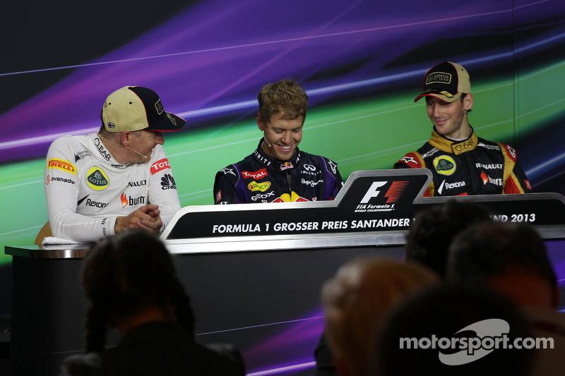 The FIA Press Conference: Kimi Raikkonen, Lotus F1 Team, second; Sebastian Vettel, Red Bull Racing, race winner; Romain Grosjean, Lotus F1 Team, third