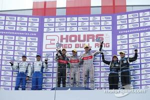 LM P2 podium: winners Mathias Beche, Pierre Thiriet, second place Pierre Ragues, Nelson Panciatici, third place Natacha Gachnang, Franck Mailleux