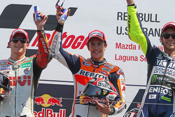 Race winner Marc Marquez, second place Stefan Bradl, third place Valentino Rossi
