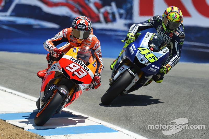 2013 foi o último ano de Laguna Seca como sede do GP dos EUA. E Márquez venceu com uma ultrapassagem sobre Valentino Rossi no 'saca-rolha' - manobra similar à que Rossi executou sobre Casey Stoner, em 2008.