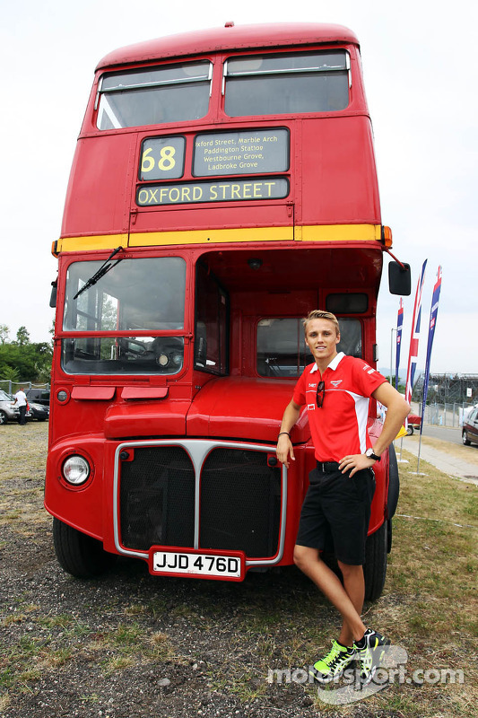 Max Chilton, Marussia F1 Team with a Routemaster Bus as part of a UK Trade and Investment initiative