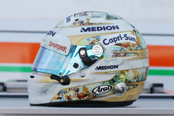 The helmet of Adrian Sutil, Sahara Force India F1, celebrating 100GP starts