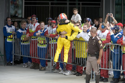 Tiago Monteiro, Jordan Toyota EJ15 fait la fête avec l'équipe