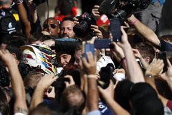 Race winner Lewis Hamilton, Mercedes AMG F1, celebrates victory in Parc Ferme