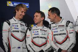 Podium: second place Timo Bernhard, Earl Bamber, Brendon Hartley, Porsche Team
