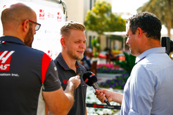 Kevin Magnussen, Haas F1 Team, talks to the media