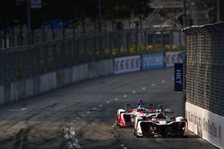 Edoardo Mortara, Venturi Formula E, leads Nick Heidfeld, Mahindra Racing