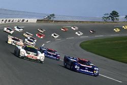 Davy Jones, Raul Boesel, Jan Lammers, Jaguar XJR-9, leads Geoff Brabham, Chip Robinson, Arie Luyendyk, Michael Roe, Nissan GTP ZX-Turbo