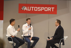 Elfyn Evans talks to Henry Hope-Frost on the Autosport Stage with Maciej Woda