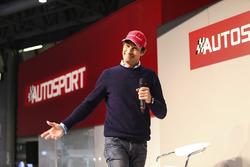 Emanuele Pirro arrives on the Autosport Stage