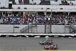 #86 Michael Shank Racing Acura NSX, GTD: Katherine Legge, Alvaro Parente, Trent Hindman, A.J. Allmendinger, #93 Michael Shank Racing Acura NSX, GTD: Lawson Aschenbach, Justin Marks, Mario Farnbacher, Côme Ledogar cross the finish line