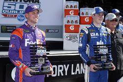 Polesitter Alex Bowman, Hendrick Motorsports, Nationwide Chevrolet Camaro, second place Denny Hamlin, Joe Gibbs Racing, FedEx Express Toyota Camry