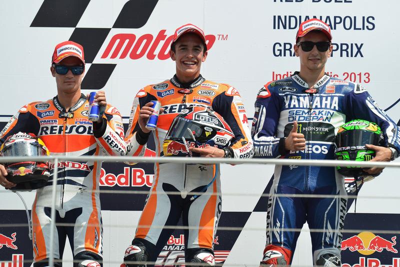 Podio: 1º Marc Márquez, 2º Dani Pedrosa, 3º Jorge Lorenzo