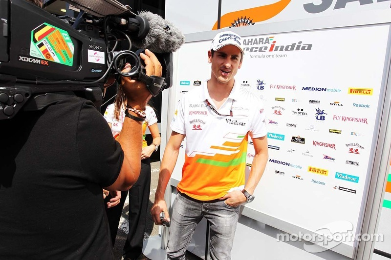 Adrian Sutil, Sahara Force India F1 with the media.