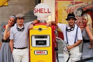 Fernando Alonso, Ferrari and Felipe Massa, Ferrari at the Back In Time with Shell event