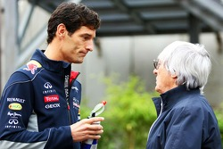 Mark Webber, Red Bull Racing with Bernie Ecclestone, CEO Formula One Group