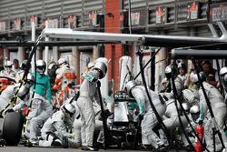 Lewis Hamilton, Mercedes AMG F1 makes a pit stop