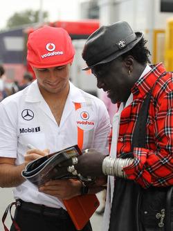 Sergio Perez, McLaren with Mr Moko