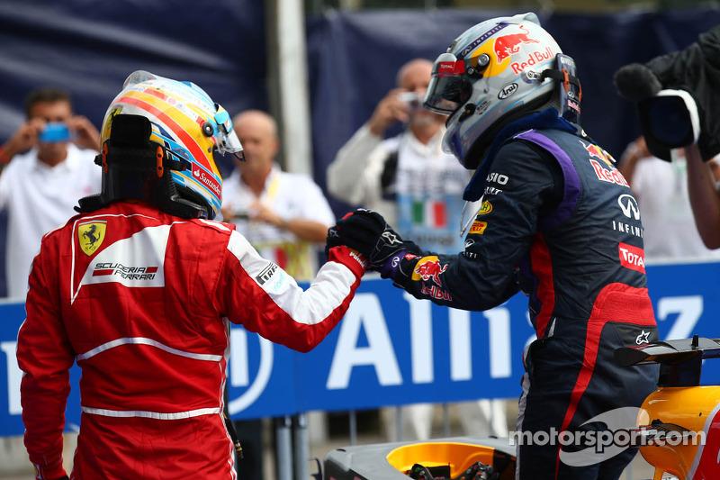 Fernando Alonso, Ferrari and Sebastian Vettel, Red Bull Racing