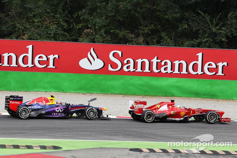 Fernando Alonso, Ferrari F138 and Mark Webber, Red Bull Racing RB9 battle for position