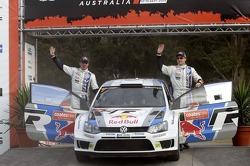 Podium: Jari-Matti Latvala and Miikka Anttila, Volkswagen Polo WRC, Volkswagen Motorsport