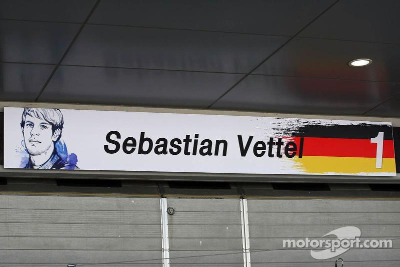 Pit garage sign for Sebastian Vettel, Red Bull Racing