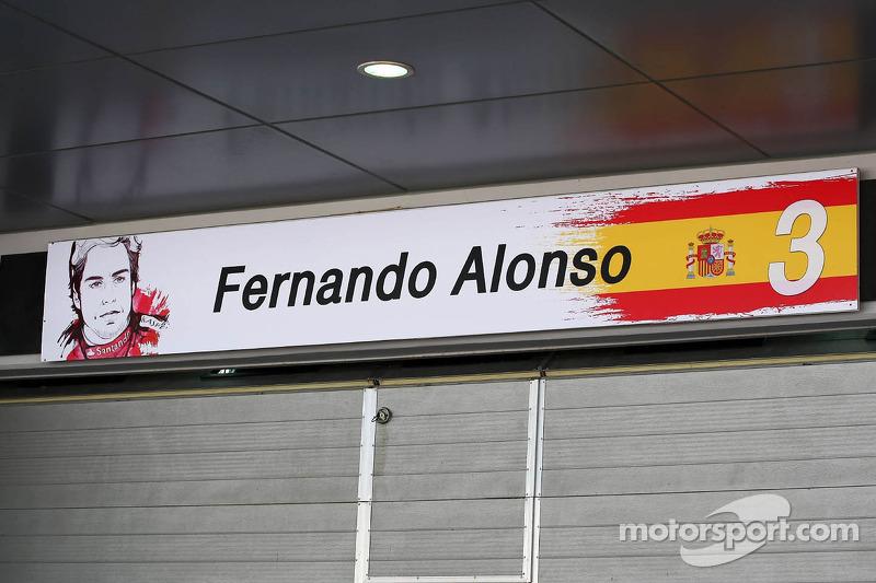 Pit garage sign for Fernando Alonso, Ferrari