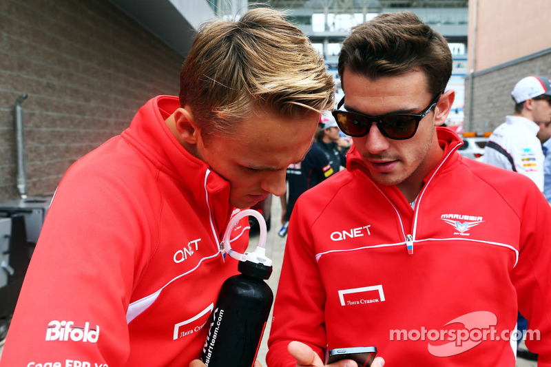 (L to R): Max Chilton, Marussia F1 Team with Jules Bianchi, Marussia F1 Team on the drivers parade