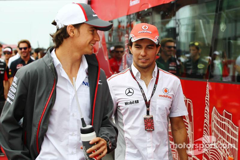 Esteban Gutiérrez, Sauber y Sergio Pérez, McLaren en el desfile de pilotos