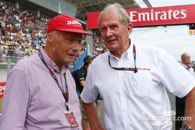 (L naar R): Niki Lauda, Mercedes Non-Executive Chairman met Dr Helmut Marko, Red Bull Motorsport Con