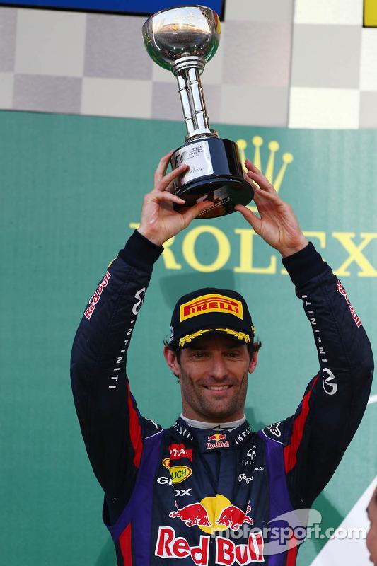 Podio: Mark Webber, Red Bull Racing, en segundo lugar