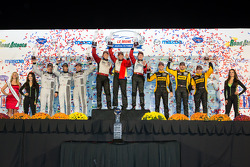 GTC podium: class winners Nelson Canache, Spencer Pumpelly, Madison Snow, second place Patrick Dempsey, Andy Lally, Joe Foster, third place Mike Hedlund, Jan Heylen, Jon Fogarty