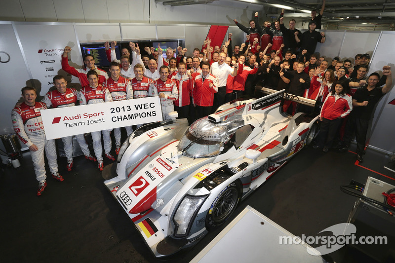 2013 champions #2 Audi Sport Team Joest Audi R18 e-tron quattro: Tom Kristensen, Allan McNish, Loic Duval