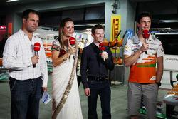 (L to R): Ted Kravitz, Sky Sports Pitlane Reporter with Natalie Pinkham, Sky Sports Presenter; Anthony Davidson, Sky Sports F1 Commentator; and James Calado, Sahara Force India Third Driver
