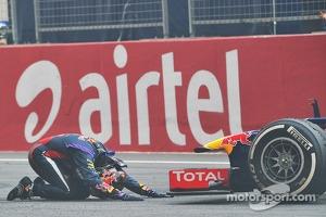 Race winner and World Champion Sebastian Vettel, Red Bull Racing RB9 celebrates at the end of the race