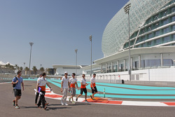 Adrian Sutil and James Calado, Sahara Force India Third Driver walk the circuit with the team